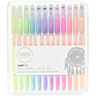 Kaisercraft CL101 KaiserColour Gel Pens (24 Pack), 12 Pastel & 12 Glitter Colors, Assorted