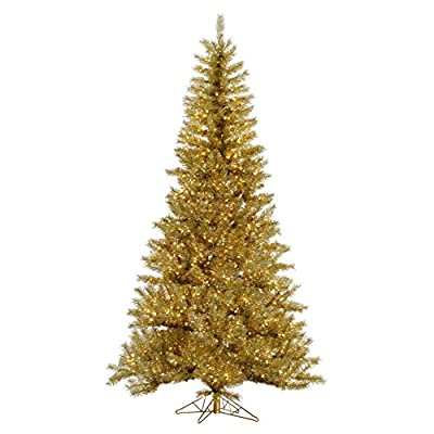 Vickerman Unlit Gold/Silver Tinsel Artificial Christmas Tree