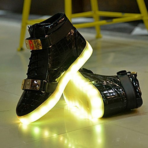 [Presente:pequeña toalla]JUNGLEST® Unisex 7 Colors USB Carga LED Luz Luminosas Flashing Sneakers Altotop Zapatos Zapatillas de Depo c26