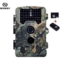REXWAY Hunting Trail Camera with 16G Card, 2.4'' LCD Screen 16MP 1080P Infrared Scouting Cameras with Night Vision, IP56 Waterproof 65ft Detection Range Super-Fast Trigger Speed (1080P Black)