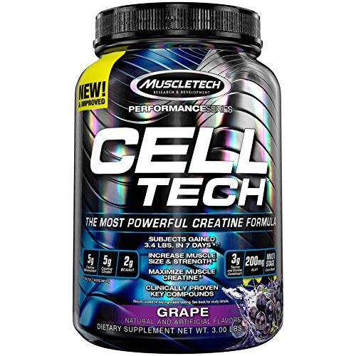 MuscleTech Cell Tech Creatine Monohydrate Formula Powder, HPLC-Certified, Improved Muscle Growth & Recovery, Grape, 30 Servings (3.09lbs) (Tech Cell Muscletech)