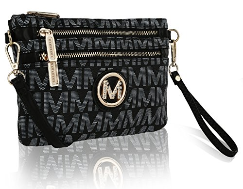 MKF Crossbody Bags for Women - Removable Adjustable Strap Handbag Wristlet - Small Vegan Leather Messenger Purse Black ()