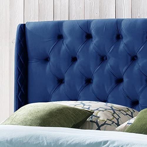 Christopher Knight Home Emma Wingback Queen Full Tufted Navy Blue Velvet Headboard, Black