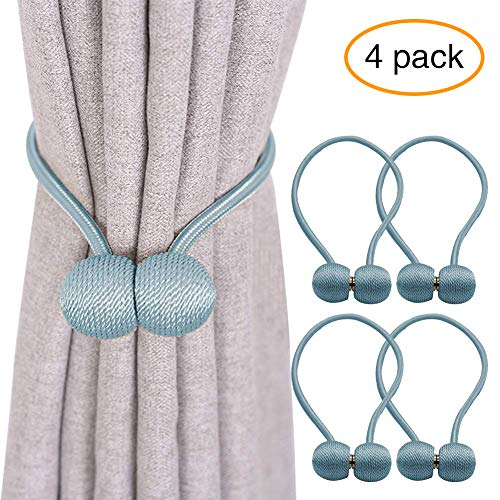 YOBAYE Magnetic Curtain Tiebacks, 4 Pack Drape Tie Backs Decorative Curtain Rope Holdbacks for Home Kitchen Office Window Drapes, No Drilling & Holes Required,Blue