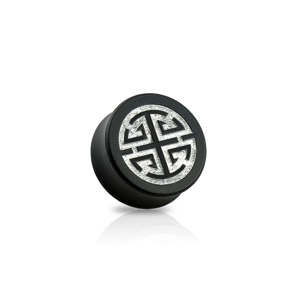 Dynamique Pair Of Double Flared Black Ebony Wood Saddle Plugs With Silver Chiness Symbol-Lu (Prosperity) Front