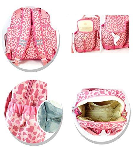 Yvon nelee Mamá bolso bolso hombro bolsa mochila para Baby Cuidado Mummy Bag bolso de pañales Bolsa de cuidado con Tissue bolso aislante de varios compartimentos ligera color rosa