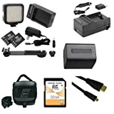 Sony HDR-PJ230 Camcorder Accessory Kit includes: SDNPFV70NEW Battery, SDM-109 Charger, SD32GB Memory Card, SDC-27 Case, HDMI6FMC AV & HDMI Cable, LED-70 On-Camera Lighting