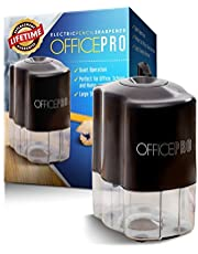 OfficePro Electric Pencil Sharpener, Helical Steel Blade Sharpens All Pencils Including Colour, Auto Stop Feature For Safety, Batteries Included