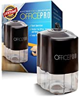 OfficePro Electric Pencil Sharpener, Helical Steel Blade Sharpens All Pencils Including Color, Auto Stop Feature For Safety, Batteries Included