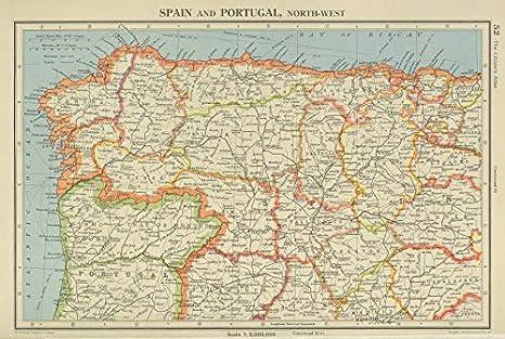 Iberia N West. España Portugal Galicia Asturias Castilla/Leon Cantabria – 1947 – Mapa Antiguo Vintage – Mapas Impresos de Iberia: Amazon.es: Hogar