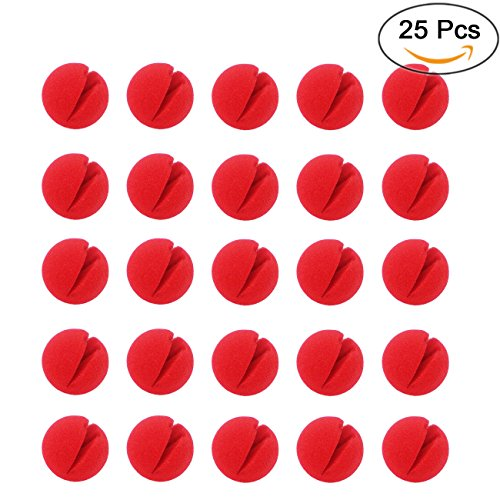 Ogrmar Red Circus Clown Nose Halloween Christmas Costume Party 25 pcs