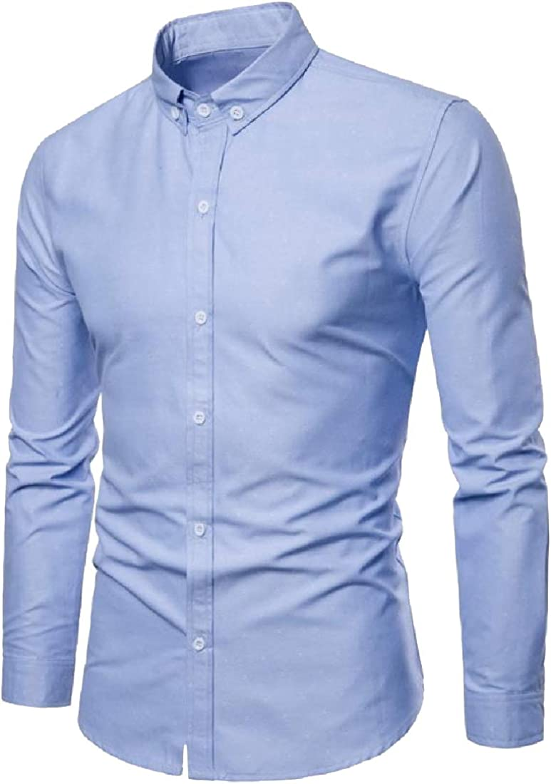 YUNY Mens Twill Original Fit Solid Color OL Office Woven Shirt Light Blue M