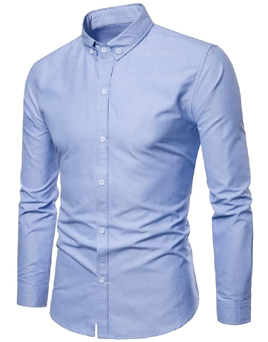 YUNY Mens Twill Original Fit Solid Color OL Office Woven Shirt Light Blue L