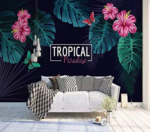 Tropical Floral Wallpaper Mirabilis Flower Wall Mural Palm Leaf Wall Art Tropical Home Decor Exotic Cafe Design Living Room Bedroom