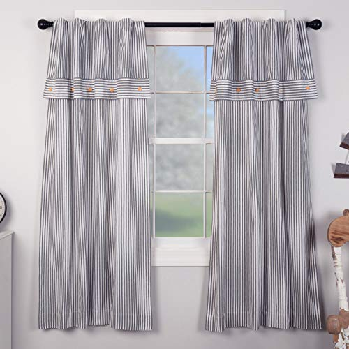 (Piper Classics Farmhouse Ticking Stripe Blue Panel Curtains, Set of 2, 63