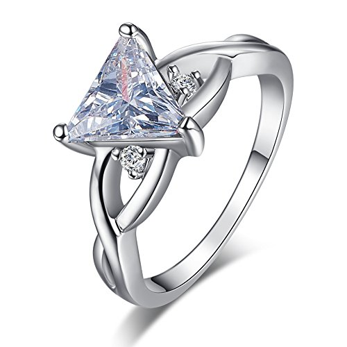 Emsione Created White Topaz 925 Silver Plated Ring for Women ()