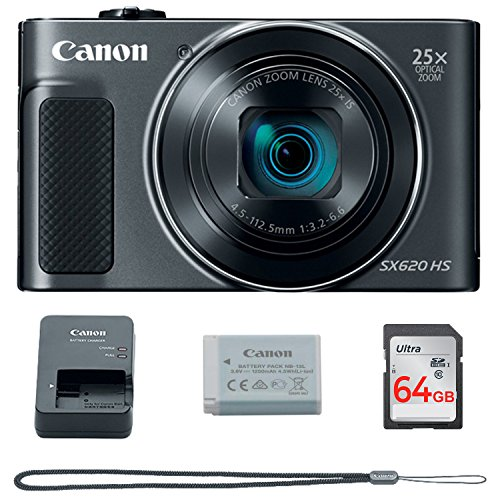 Canon PowerShot SX620 Digital Camera w/25x Optical Zoom – Wi-Fi & NFC Enabled (Black) – Memory Card Bundle (Camera + 64GB Memory Card)
