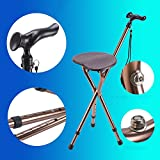 Elderly Folding Three Legged Cane Seat, Adjustable Height Lightweight Walking Stick With Seat Medical Aid Massage Anti-slip Crutch-Coffee