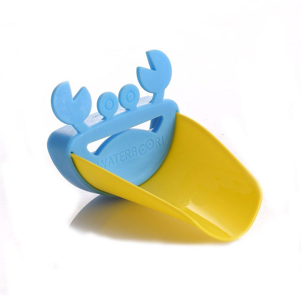 Isuper Cartoon Krabbe Wasserhahn Erweiterung Handwaschl/ösung f/ür Kinder Wasserhahn Verl/ängerung Badezimmer Accessories Wasserhahn Extender Gelb und Blau