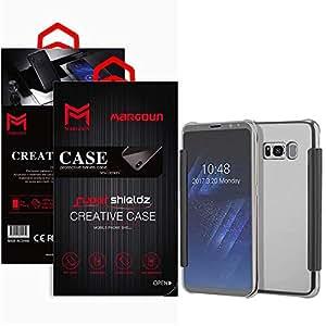 Margoun for Samsung Galaxy S8 Plus, G955FD Flip Mirror Case Cover, Quick access to front and rear camera - Silver
