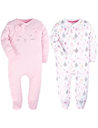2-Pack Fold-Over Hands Baby Girls Pajamas Footed Rompers for Baby Bodysuits