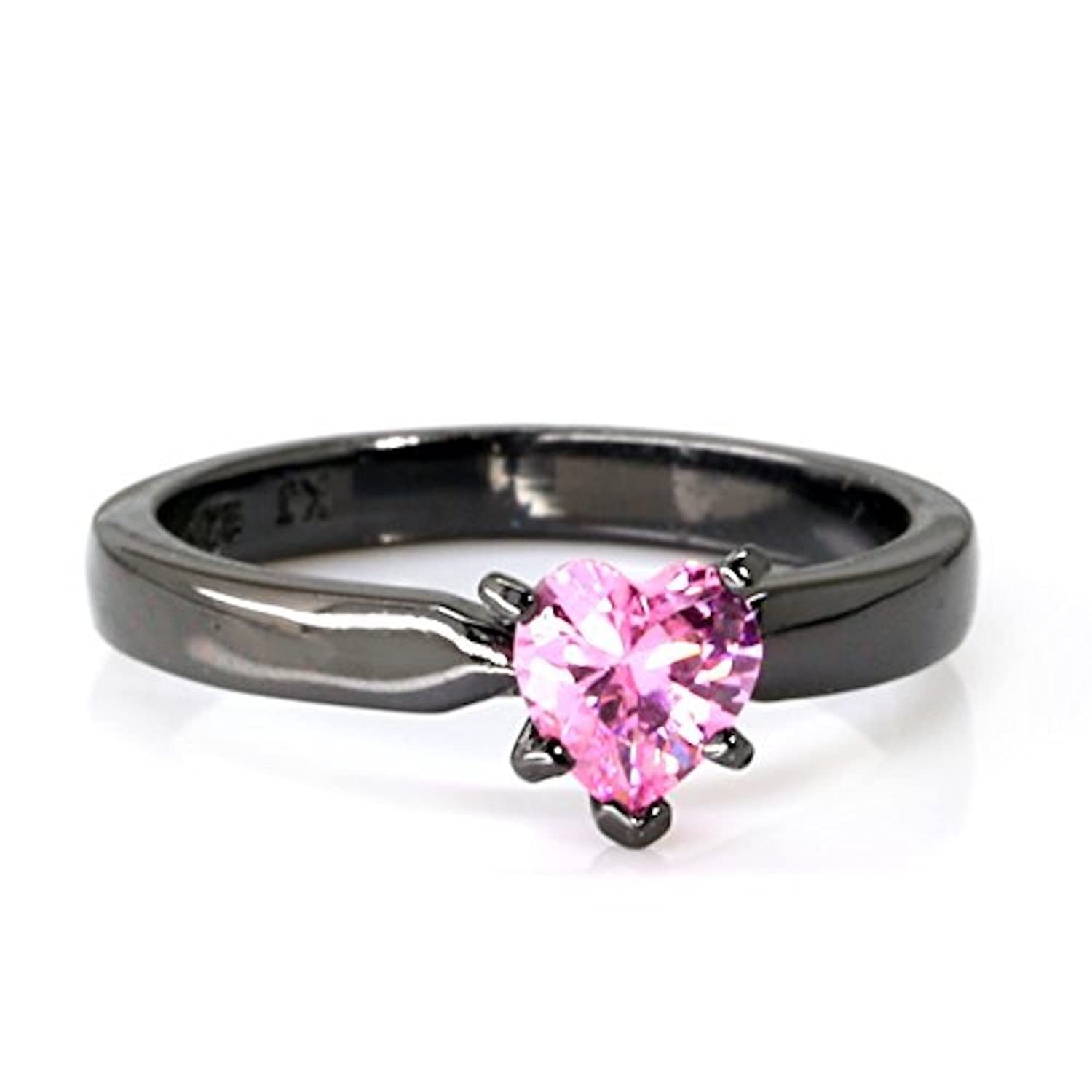 amazoncom black plated pink camo wedding ring set pink heart engagement rings hypoallergenic titanium and stainless steel jewelry - Pink Camo Wedding Rings For Her