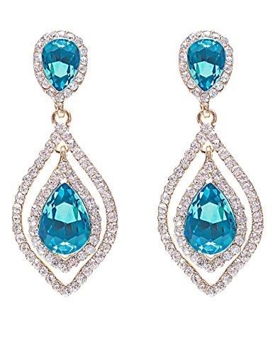 - NLCAC Women's Pear Shape Teardrop Crystal Blue Earrings Dangle Long Rhinestone Chandelier Earring Wedding Jewelry for Bride
