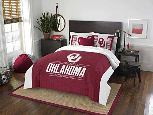 3 Piece NCAA University of Oklahoma Sooners Comforter Full/Queen Set, Sports Patterned Bedding, Featuring Team Logo, Fan Merchandise, Team Spirit, College Football Themed, Red White, For (Oklahoma Sooners Diamond)