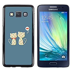 Shell-Star Arte & diseño plástico duro Fundas Cover Cubre Hard Case Cover para Samsung Galaxy A3 / SM-A300 ( Cute Cats Cat Fish Pattern )
