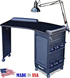390 Manicure Nail Table Lockable w/Black Laminated Top by Dina Meri