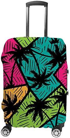 スーツケースカバー トラベルケース 荷物カバー 弾性素材 傷を防ぐ ほこりや汚れを防ぐ 個性 出張 男性と女性ヤシの木と抽象的なカラフルな幾何学模様