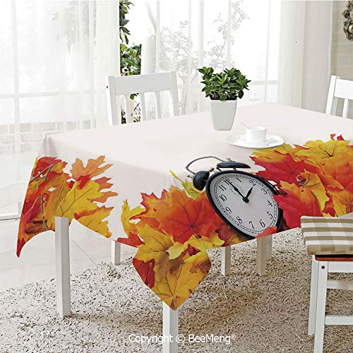 BeeMeng Large dustproof Waterproof Tablecloth,Family Table Decoration,Clock Decor,Autumn Leaves and an Alarm Clock Fall Season Theme Romantic Digital Print,White and Orange,70 x 104 inches