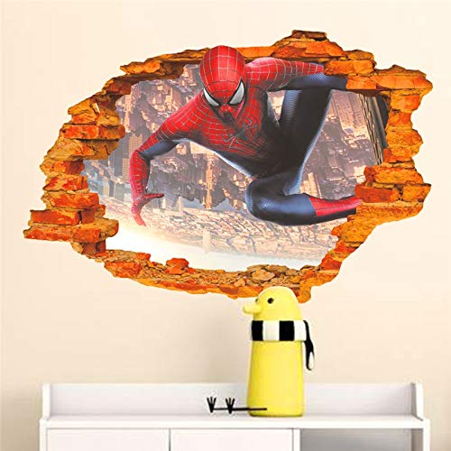 Best Choise Product Cartoon Hero Spiderman Through Wall s for Kids Room Wall Art Decorations 3D Broken Wall Posters DIY PVC Decals Boy's -