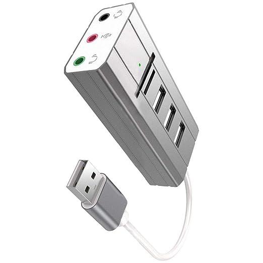 Luckiests Estéreo concentrador USB Adaptador de Tarjeta de ...
