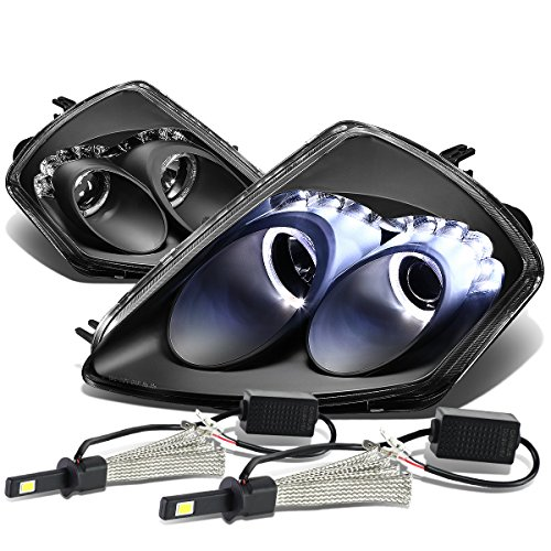 Dual Angel Eye Halo Projector (Mit Eclipse 3G Pair of Angel Eyes Dual Halo Projector Black Housing Headlight + H1 LED Conversion Kit)