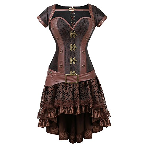 frawirshau Corset Dress Women's Steampunk Clothing Vintage Halloween Costume Gothic Corset Skirt Set Brown XL -