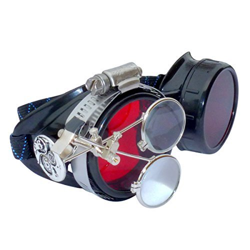 Steampunk Goggles Victorian Novelty Glasses Cosplay CWG red 1x with mag. Loops -