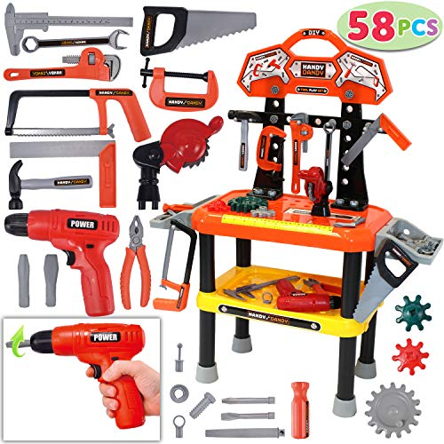 58 Pieces Kids Workbench with Realistic Tools and Electric Drill for Construction Workshop Tool Bench, STEM Educational Play, Pretend Play, Birthday Gifts and Tool Bench Building Set by JOYIN