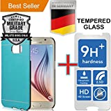 Samsung Galaxy S6 [5.1] Pack [Slim Aluminum] Case + [Tempered Glass] Screen Protector [Dual Layer] Cover [Shock Impact Resistant] Alloy Brushed [Absorbent Bumper] PVC [INO Metal] Skin [Motomo] Blue