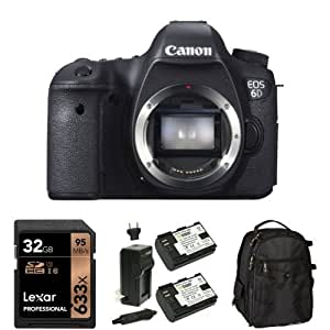 Canon EOS 6D 20.2 MP CMOS Digital SLR Camera (Body Only) with 32GB Memory Card, Extra Battery and Bag