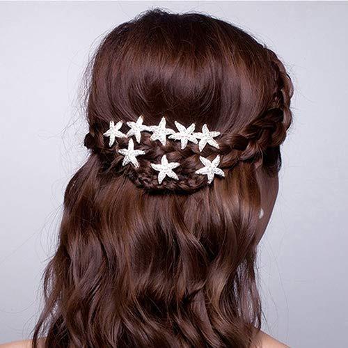 (JYS365 6 Pcs Hairpins Starfish U Shape Braid Headwear Wedding Party Cocktail Gift Hair Accessories)