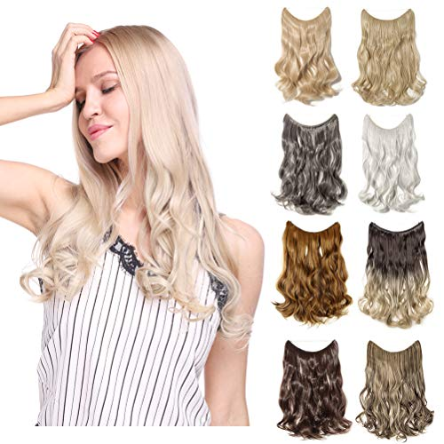 Invisible Secret Hidden Wire Clip in Hair Extensions 20-24 Inches Long Straight Wavy Curly Synthetic Hairpieces Miracle Translucent Fish Line Black Blonde Brown Ombre