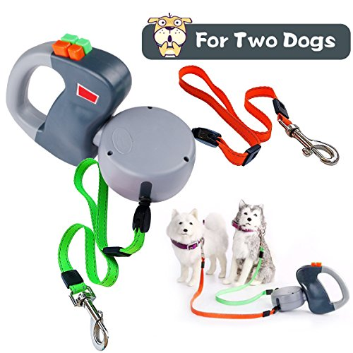 SHENGMI Dog Leash Retractable, Extendable Double Dog Leash No Tangle Automatic Dual Pet Dog Lead Leash 10 Feet(3M) Large Medium Small Dogs To Training, Walking, Jogging Up to 50 Lbs ()