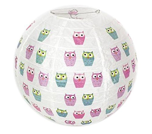 Owl Design Ribbed Paper Globe Lamp Shade / Light Shade by eMarkooz(TM)