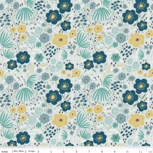 Ava Rose~Floral Blue~Floral Cotton Fabric by Riley Blake