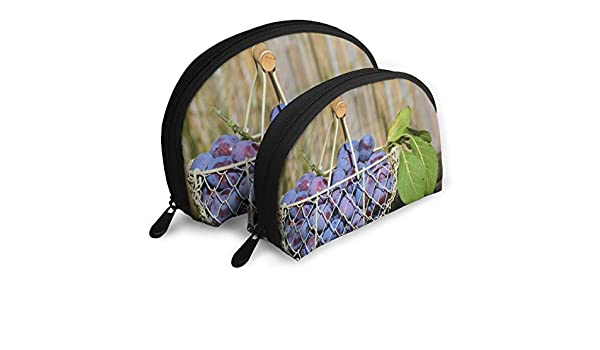 HJDKFIW Personalized Purple Grape Fruits in White Steel Basket Womens Shell Shape Purse Travel Storage Bag Organizer Bag Gift 2Pcs