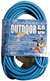Southwire 03268 50-Foot 14/3 SJTW Cold Weather Extension Cord with 3-Lighted Outlets, Blue