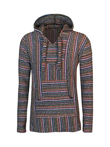 BuddhaHood Baja Eco Hoodie | Choose Color & Size | Embrace Outdoors in Warmth! (Stormy Sunrise: Gray, Black, Blue, Red, Orange, Pink, White, ()