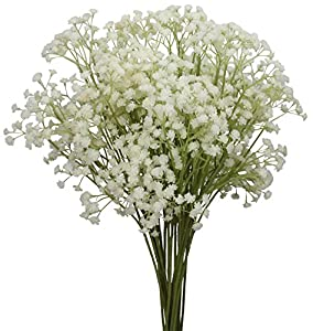 """Duovlo 10pcs Babies Breath flowers 23.6"""" Artificial Gypsophila Bouquets Real Touch Flowers For Wedding Home DIY Decor"""