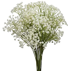 "Duovlo 10pcs Babies Breath Flowers 23.6"" Artificial Gypsophila Bouquets Real Touch Flowers for Wedding Home DIY Decor 119"